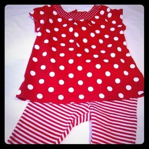 CARTER'S, Red and White Polka dot outfit